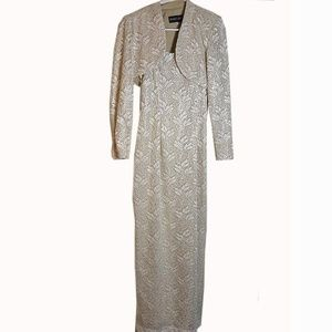 Bari Jay Lace Sequin Maxi Gown with Shrug